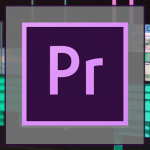 Icon that shows the logo for Adobe Premiere Pro in front of a grey box, which overlays a blurry picture of a timeline in Adobe Premiere Pro.