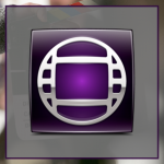 Icon image showing a blurry image of a clapperboard with a grey box on top of it and the logo for Avid Media Composer on top of that.