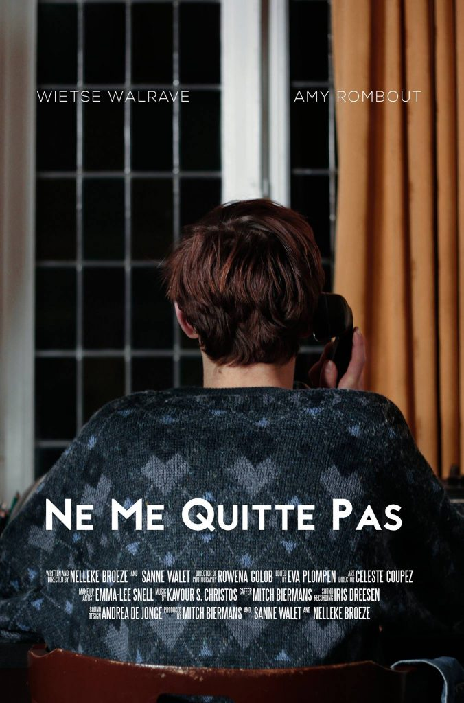 Poster for the film Ne Me Quitte Pas. Patrick is shown from his back, looking at the window, holding an old fashioned phone to his ear.