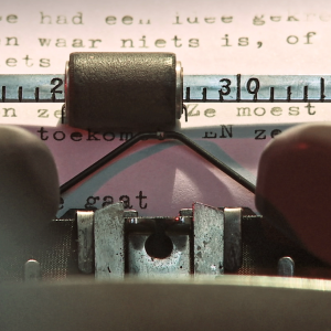 Still from the film Nowhere Place. It is a close-up of a typewriter.