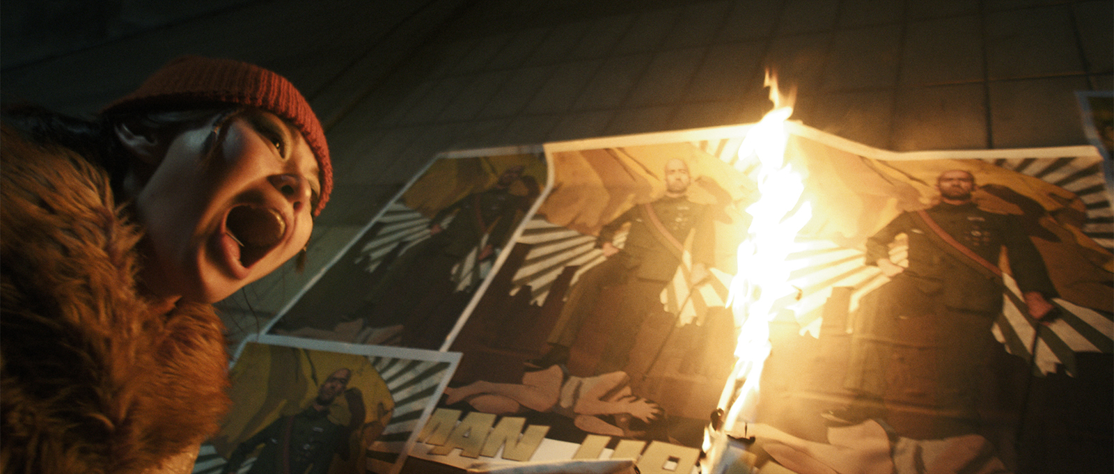 Still from the film Ningyo. Sen is standing next to a burning poster, screaming.
