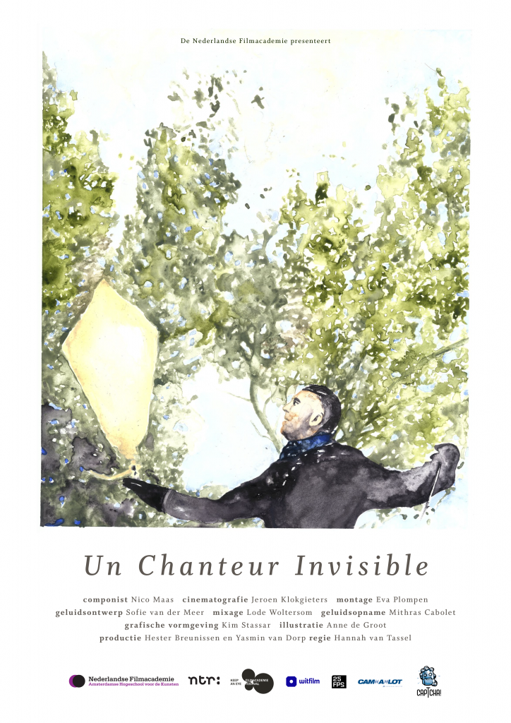 Poster for the film Un Chanteur Invisible. It's a painting of Gabriel flying a kite.