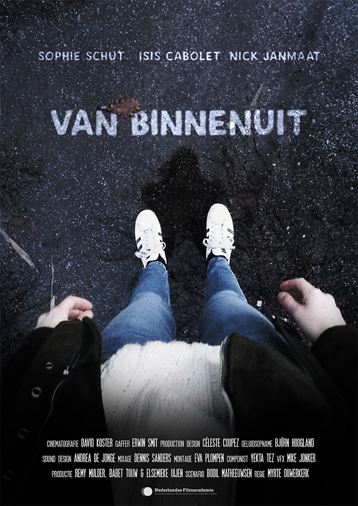 Poster for the film Van Binnenuit. It's a POV shot looking down at the ground. You can see the persons legs and feet, and their shadow reflected in the ground.