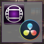 Icon for the reader about creating proxies in DaVinci. The logos of Avid Media Composer and DaVinci Resolve are on top of a translucent grey box, which overlays a blurry image of an editing set.