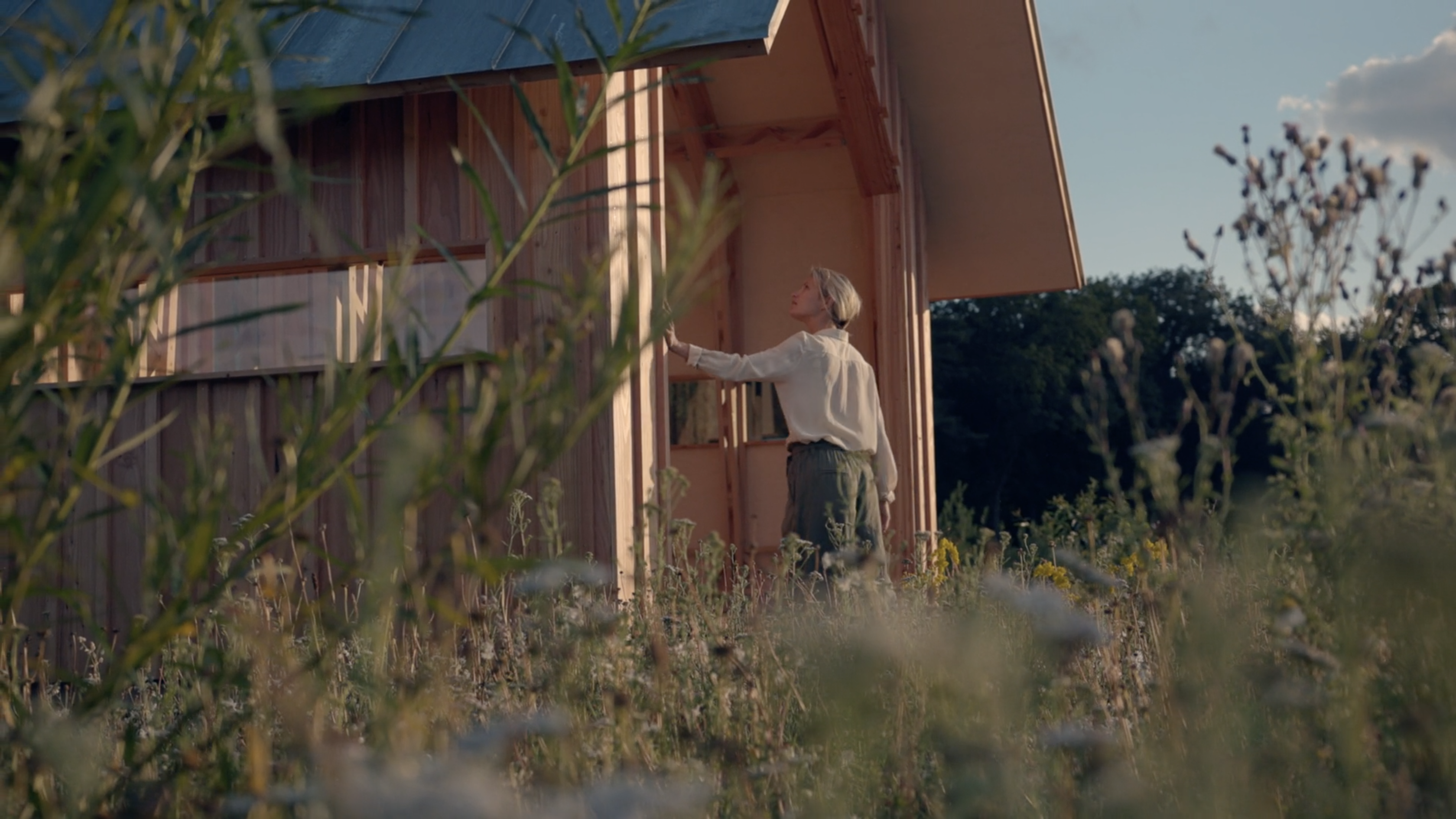 Still from Cabin ANNA MEET. It's a medium shot of the girl arriving at ANNA MEET. She's touching the wall with one hand. It is sunny, almost sunset.